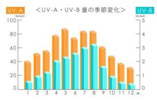 UV-A UV-B 量の季節変化
