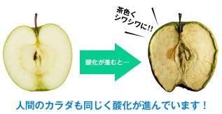 リンゴが酸化して茶色くシワシワになっている
