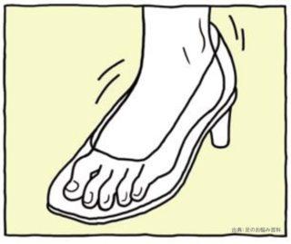 靴がゆるく足指がちぢこまる